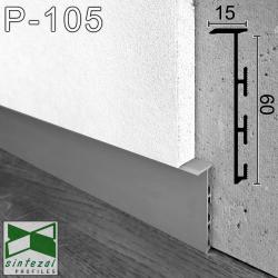P-105. Прихований алюмінієвий плінтус для підлоги Sintezal P-105, 60х15х2500мм. Без покриття