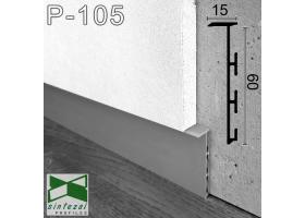 P-105. Скрытый алюминиевый плинтус для пола Sintezal P-105, 60х15х2500мм. Без покрытия