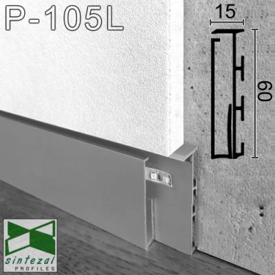 Алюминиевый плинтус скрытого монтажа с LED-подсветкой P-105L, 60х15х2500мм.