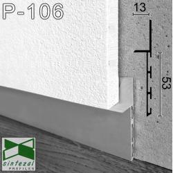 P-106. Алюмінієвий плінтус прихованого монтажу Sintezal, 53х13х2500мм. Без покриття