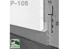 P-106. Алюминиевый плинтус скрытого монтажа Sintezal, 53х13х2500мм. Без покрытия
