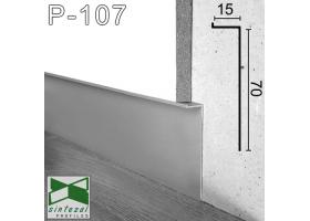 P-107. Скрытый алюминиевый плинтус Г-образной формы Sintezal, 70х15х2500мм. Анодированный