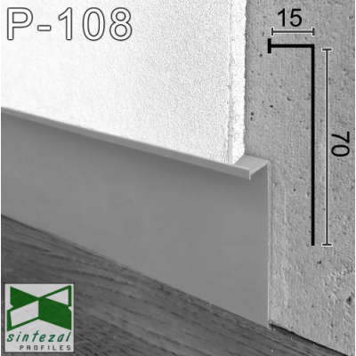 Встроенный алюминиевый плинтус скрытого монтажа Sintezal P-108 с LED-подсветкой, 70х15х3000 мм.