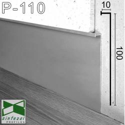 P-110. Высокий алюминиевый плинтус скрытого монтажа Sintezal, 100х9,5х3000мм. Анодированный