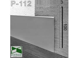 P-112. Плоский алюминиевый плинтус под штукатурку Sintezal, 100х3х2500мм. Анодированный