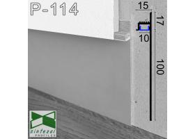 Р-114. Скрытый алюминиевый плинтус с LED-подсветкой Sintezal, 100х15х2500мм.  Без покрытия
