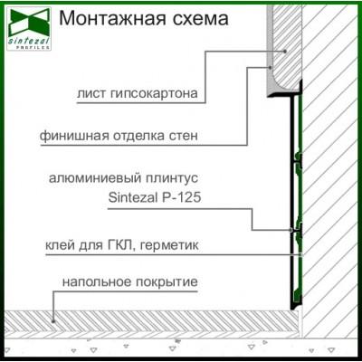 Чёрный cкрытый алюминиевый плинтус под гипсокартон Sintezal® Р-125B