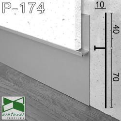 P-174. Алюмінієвий плінтус прихованого монтажу Sintezal, 112х10х2700мм. Анодований