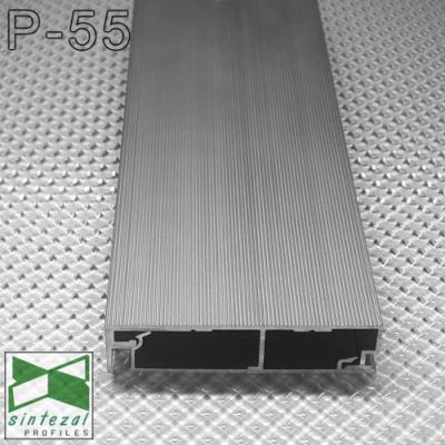 Алюминиевый плинтус скрытого монтажа P-55, 60х15х2500мм.