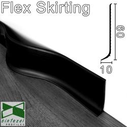 Чёрный гибкий плинтус для пола Progress Flex Skirting 60x10mm., Италия