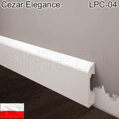 Плинтус из белого дюрополимера Cezal Elegance LPC-04, 50х14х2000 мм.