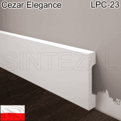 Прямоугольный белый плинтус Cezar Elegance LPC-23, 69х15х2000 мм.