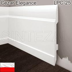 Високий білий плінтус Cezar Elegance LPC-25, 144х13х2000 мм.