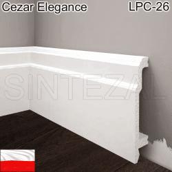 Высокий фигурный плинтус из дюрополимера Cezar Elegance LPC-26, 103х22х2000 мм.