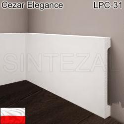 Широкий белый плинтус Cezar Elegance LPC-31. 119х16х2000 мм.