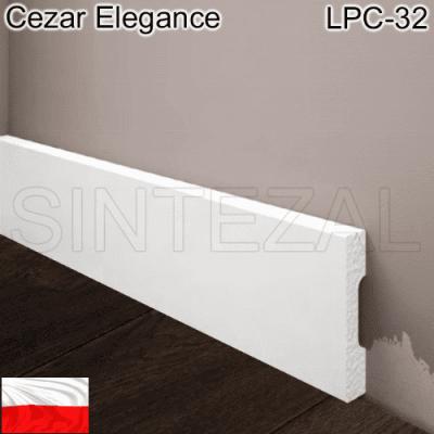 Прямоугольный белый плинтус Cezar Elegance LPC-32. 58х12х2000 мм.